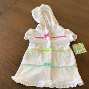 Little Me White Terry Cloth Coverup